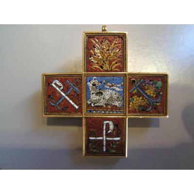 Croix or et micro mosaique XIXè