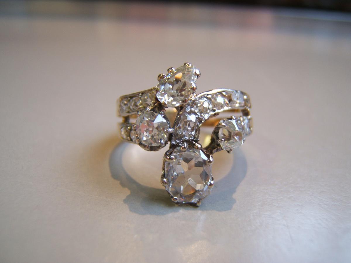 Bague ancienne or et diamants.XIXè