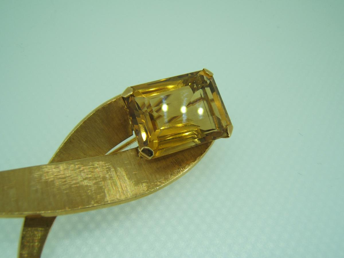 Large Gold And Citrine Brooch-photo-2