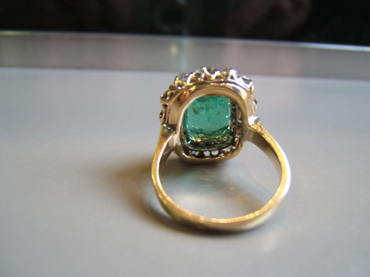 Bague émeraude de Colombie et diamants,fin XIXè
