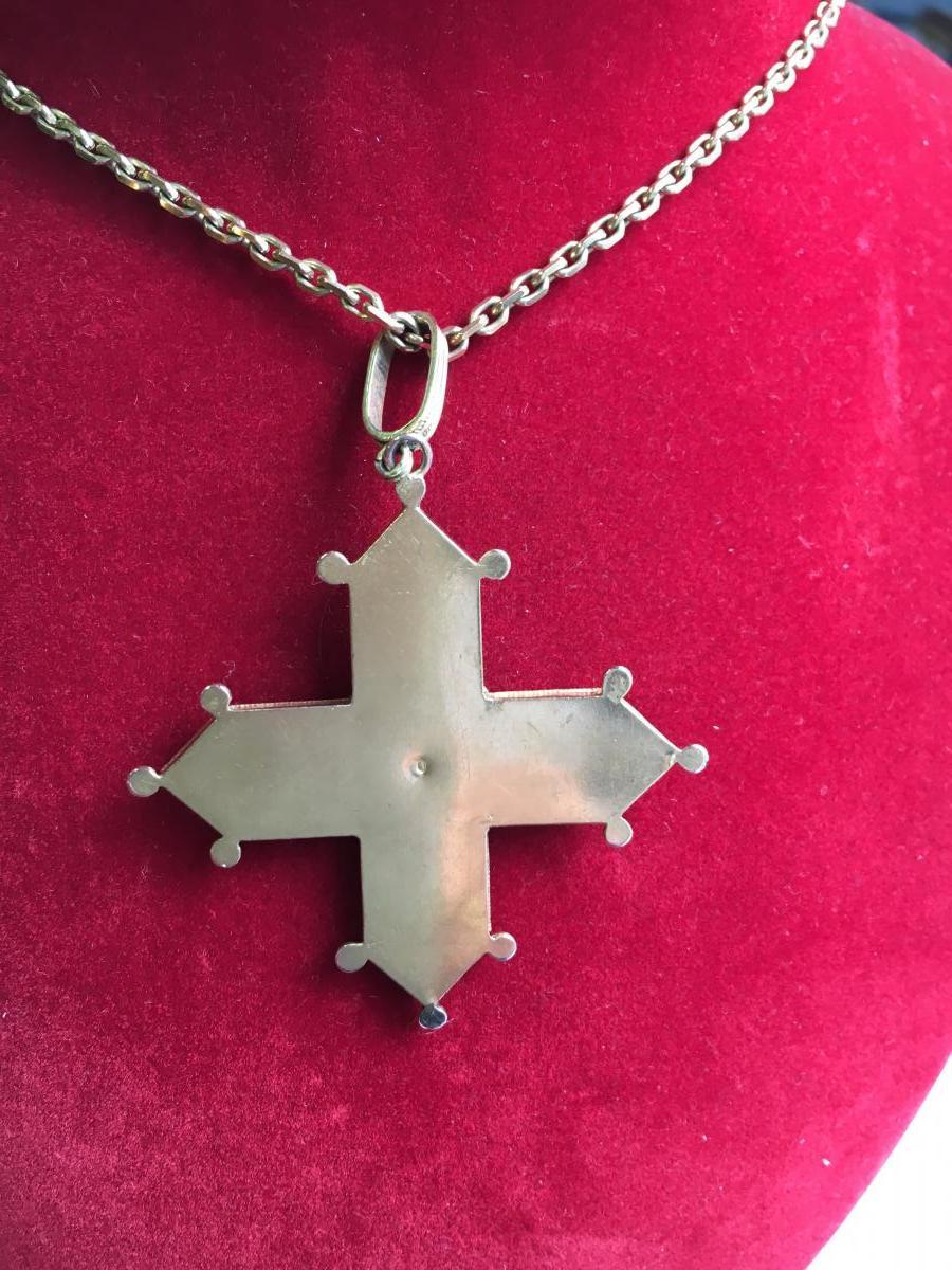 Croix en or et micro mosaique milieu du 19è.