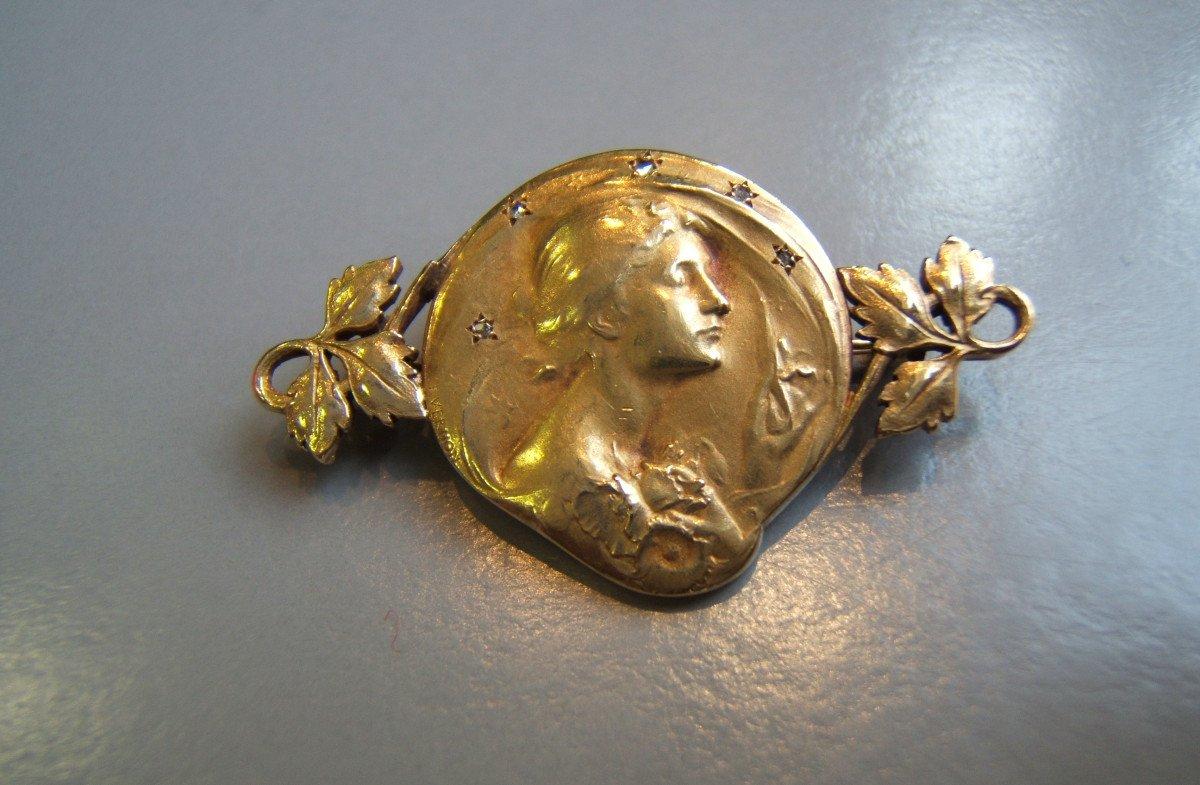 Art Nouveau Brooch In Gold,