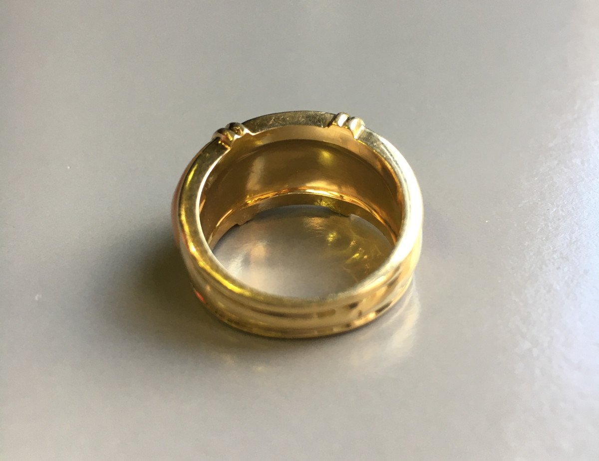 Gold And Coral Bangle Ring XXth-photo-2