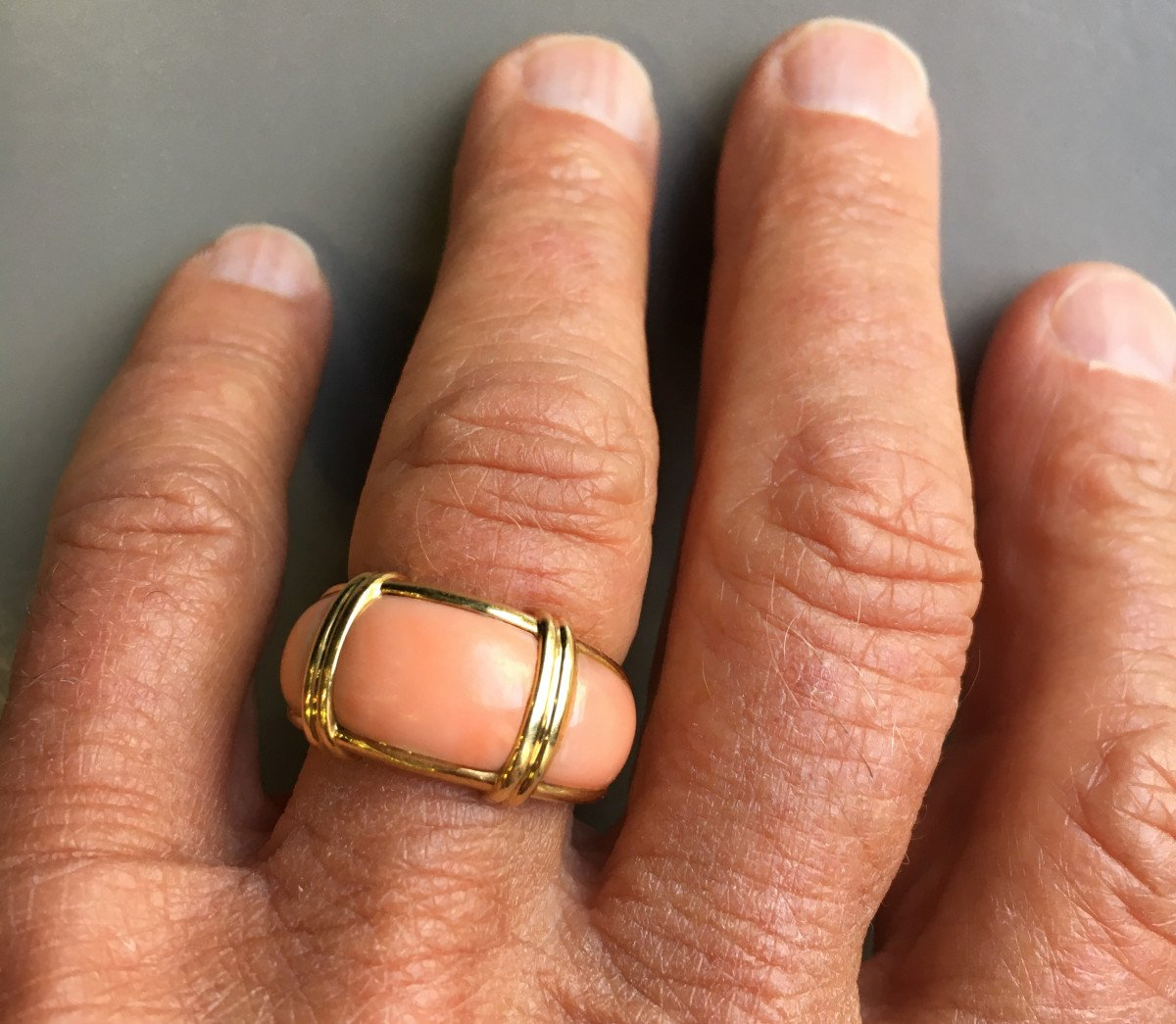 Gold And Coral Bangle Ring XXth-photo-4