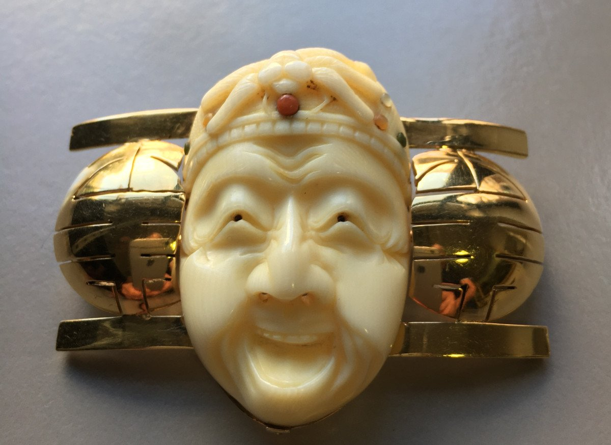 Brooch With Japanese Decor From The Art Deco Period.-photo-2