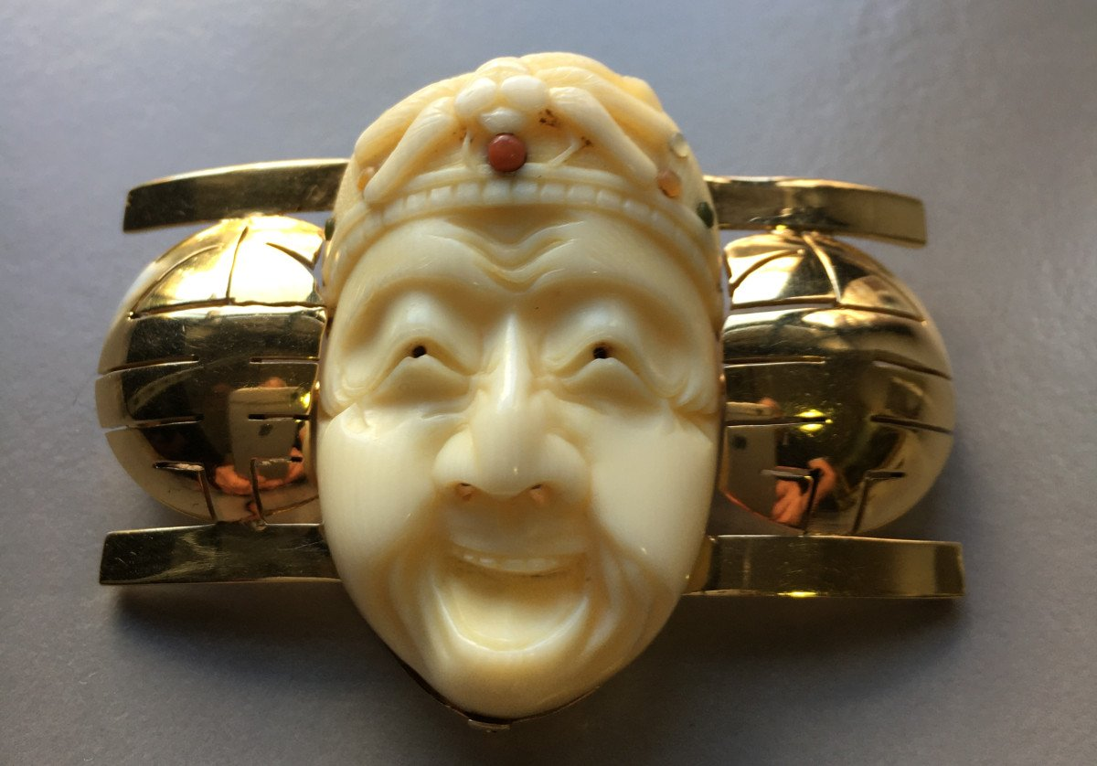 Brooch With Japanese Decor From The Art Deco Period.-photo-1