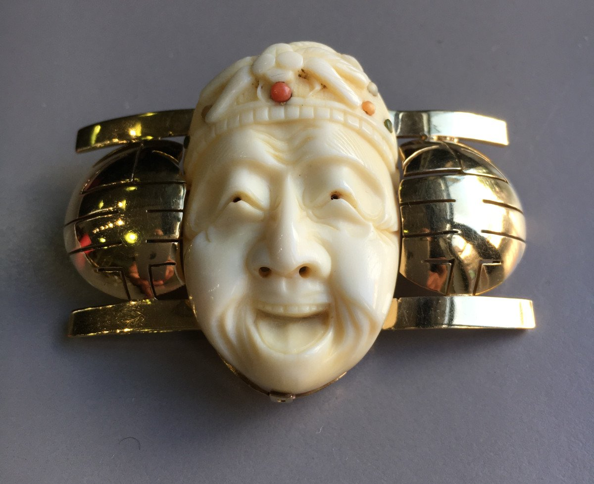 Brooch With Japanese Decor From The Art Deco Period.