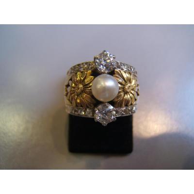 Bague ép Art Nouveau,or, diamants,perle