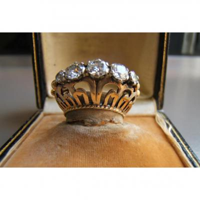 Gold And Diamond Ring Des Annees 40