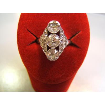 Bague diamants en platine époque ART DECO
