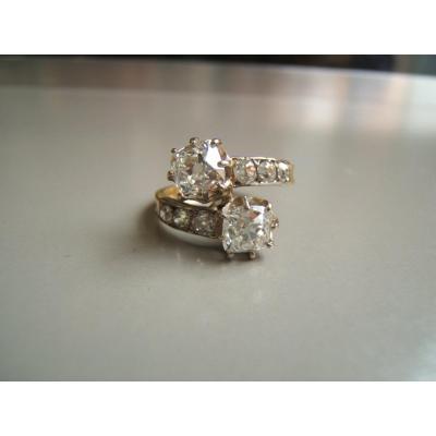 Bague Ancienne Toi Et Moi,diamants 19è