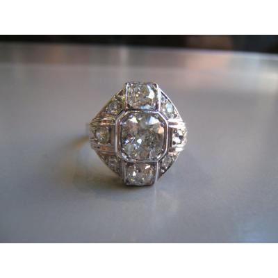 Bague  en platine et or gris,diamants, époque Art Déco.