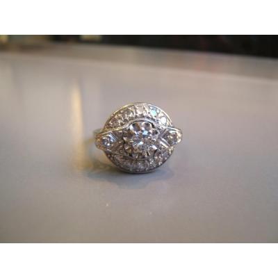 Bague or et platine,diamants,époque Art Déco.