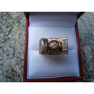 Bague or et diamants années 40.
