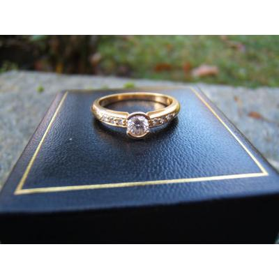 Yellow Gold Ring, Set With Diamonds.