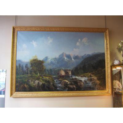 Importante peinture sur toile signée Godchaux