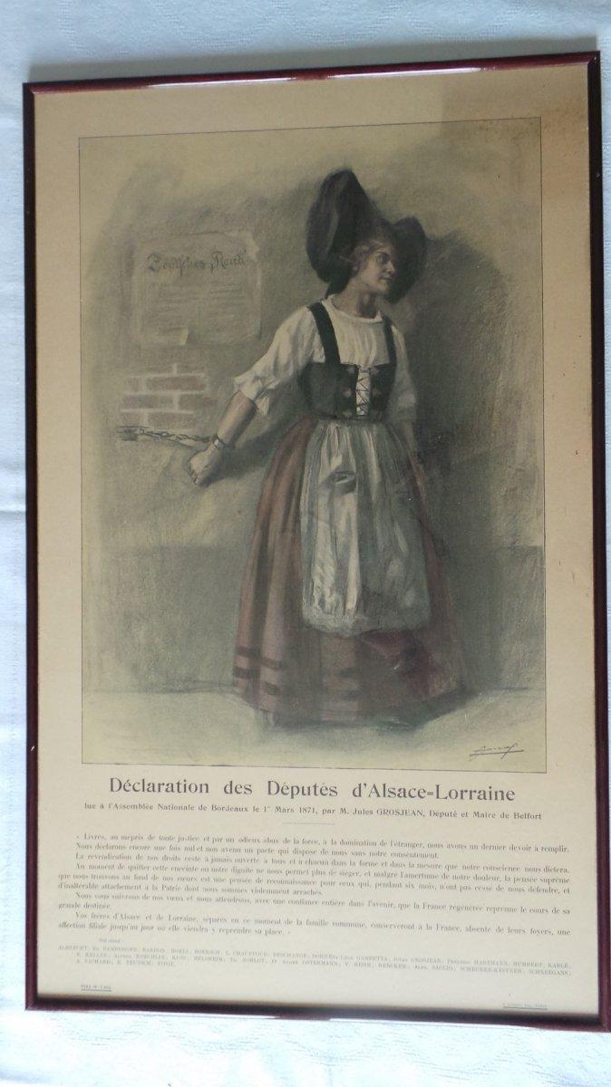 """"""" DECLARATION DES DEPUTES D ALSACE-LORRAINE-1871"""" AFFICHE LUCIEN JONAS."""