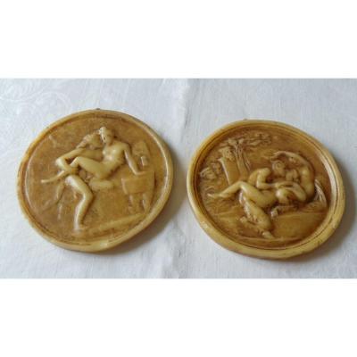 Curiosa - Deux Medaillon En Cire Erotique - XIX°