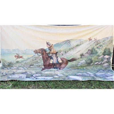 """Foraine Banner On Canvas """"far West -pony Express"""""""