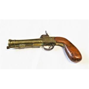 "PISTOLET DE MARINE A CANON TROMBONNE - 1830/1840-SIGNE "" J-WILSON "" ANGLETERRE"