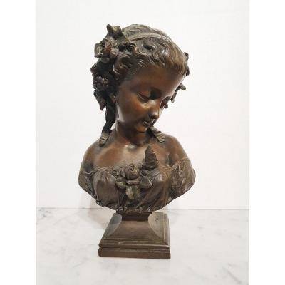 Bust Of Young Melancholic Woman In Patinated Bronze By Eugène-antoine Aizelin.