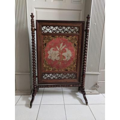 Fireplace Screen With Lily Flowers Charles X Period