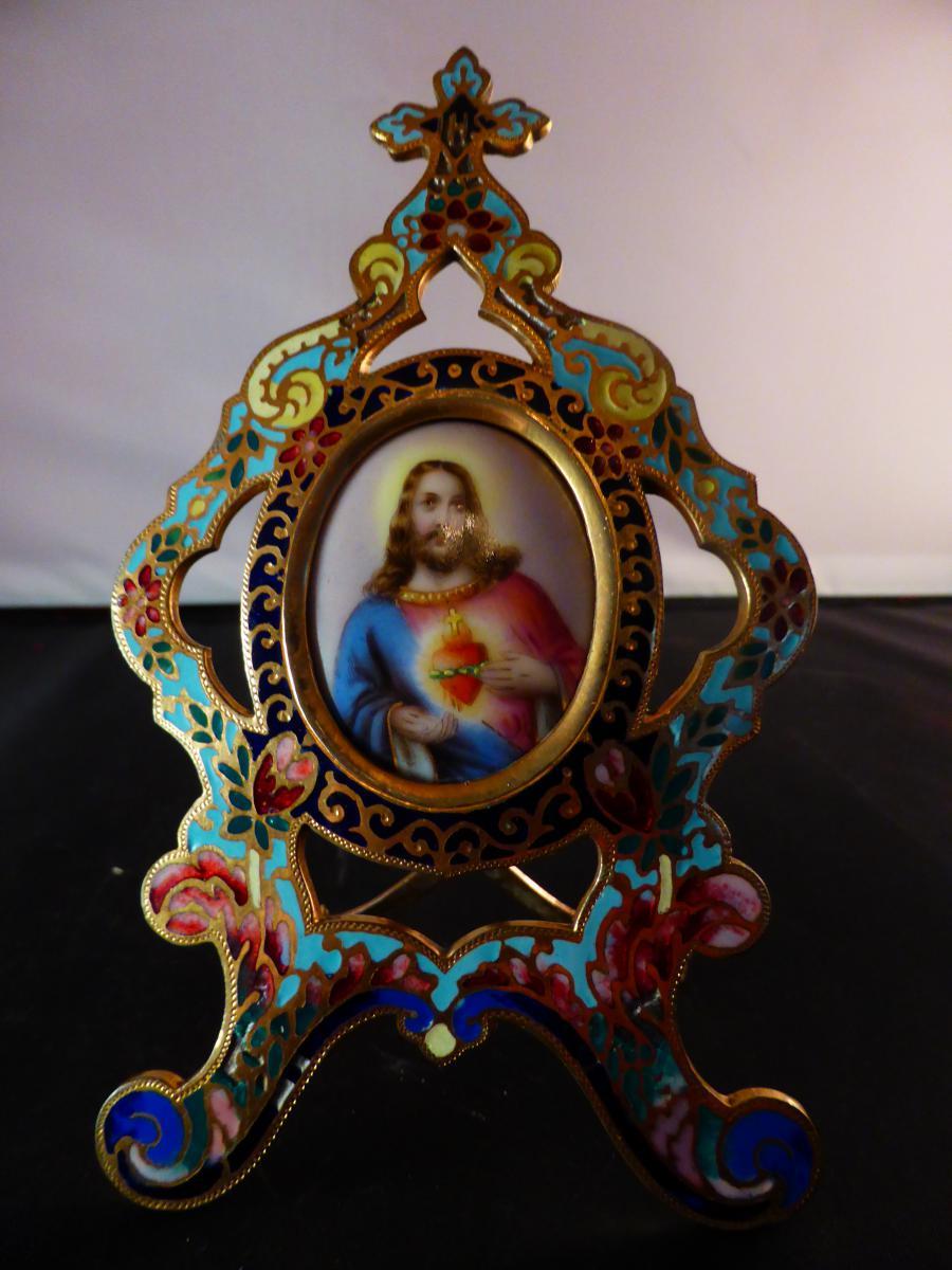 Oratory Bedside Cloisonne Champlève Painted Porcelain