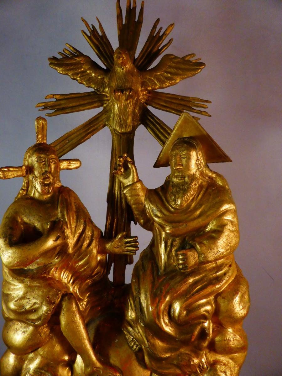 Statuette Dieu Christ Et Trinite Doree-photo-3