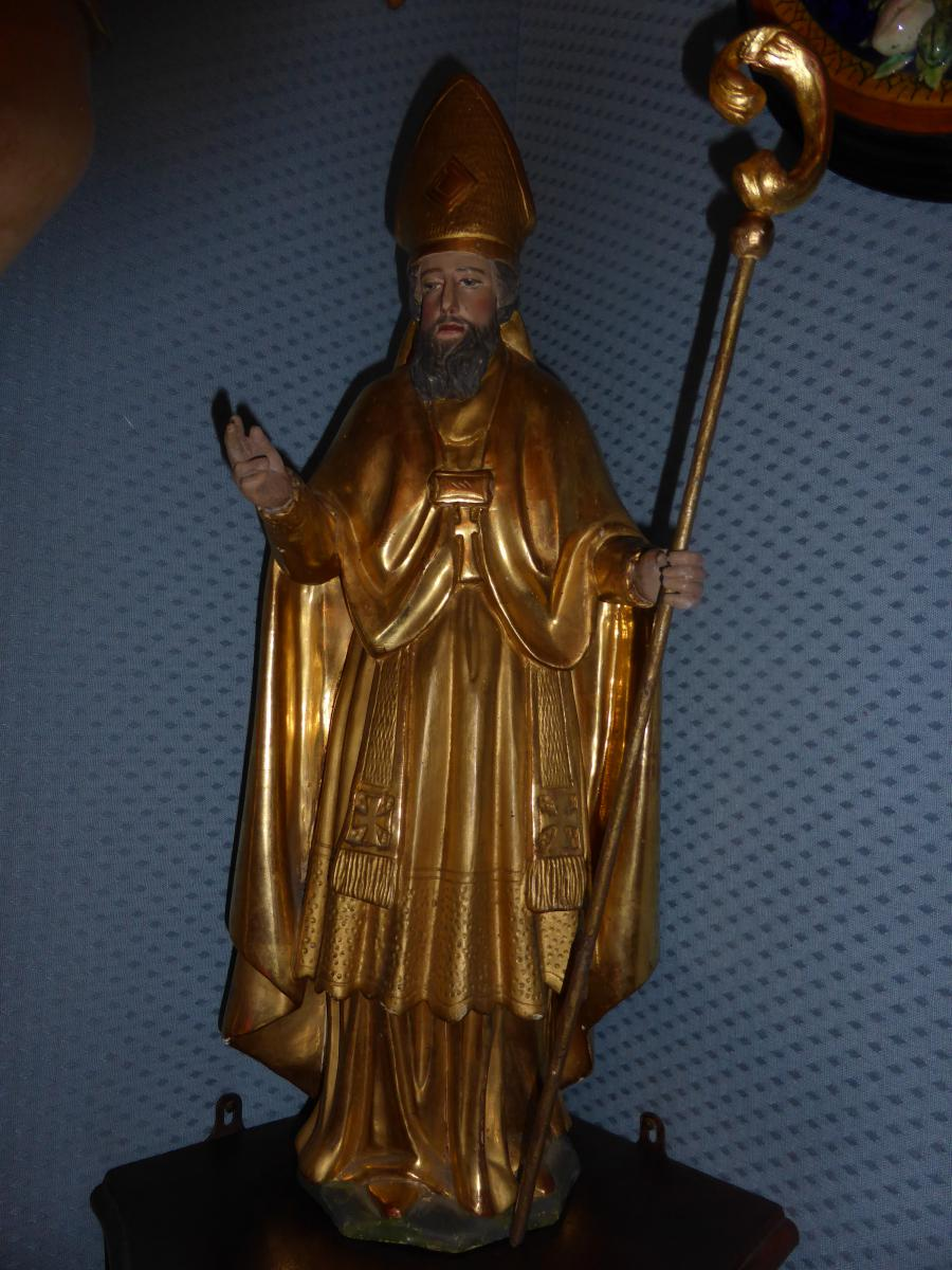 Statuette D Eveque Bois Dore