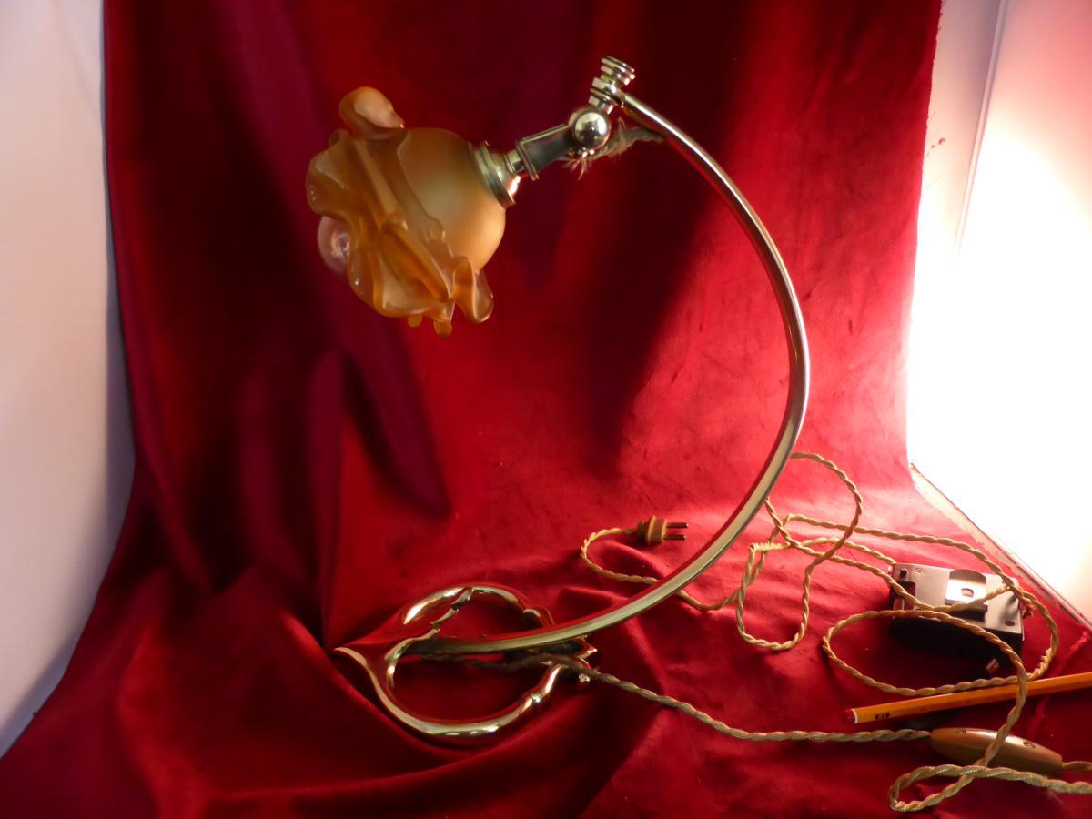 Lampe De Bureau Dite De Piano Bronze Et Laiton