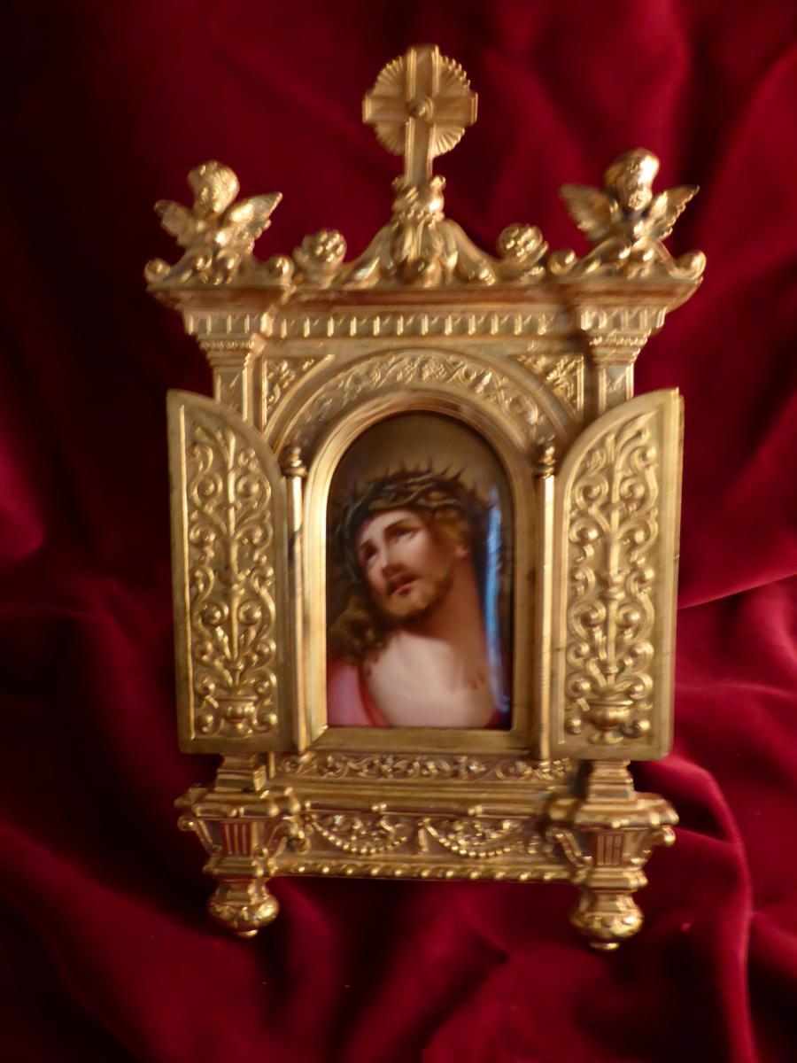 Oratoire De Chevet Porcelaine Peinte Cadre Bronze Dore