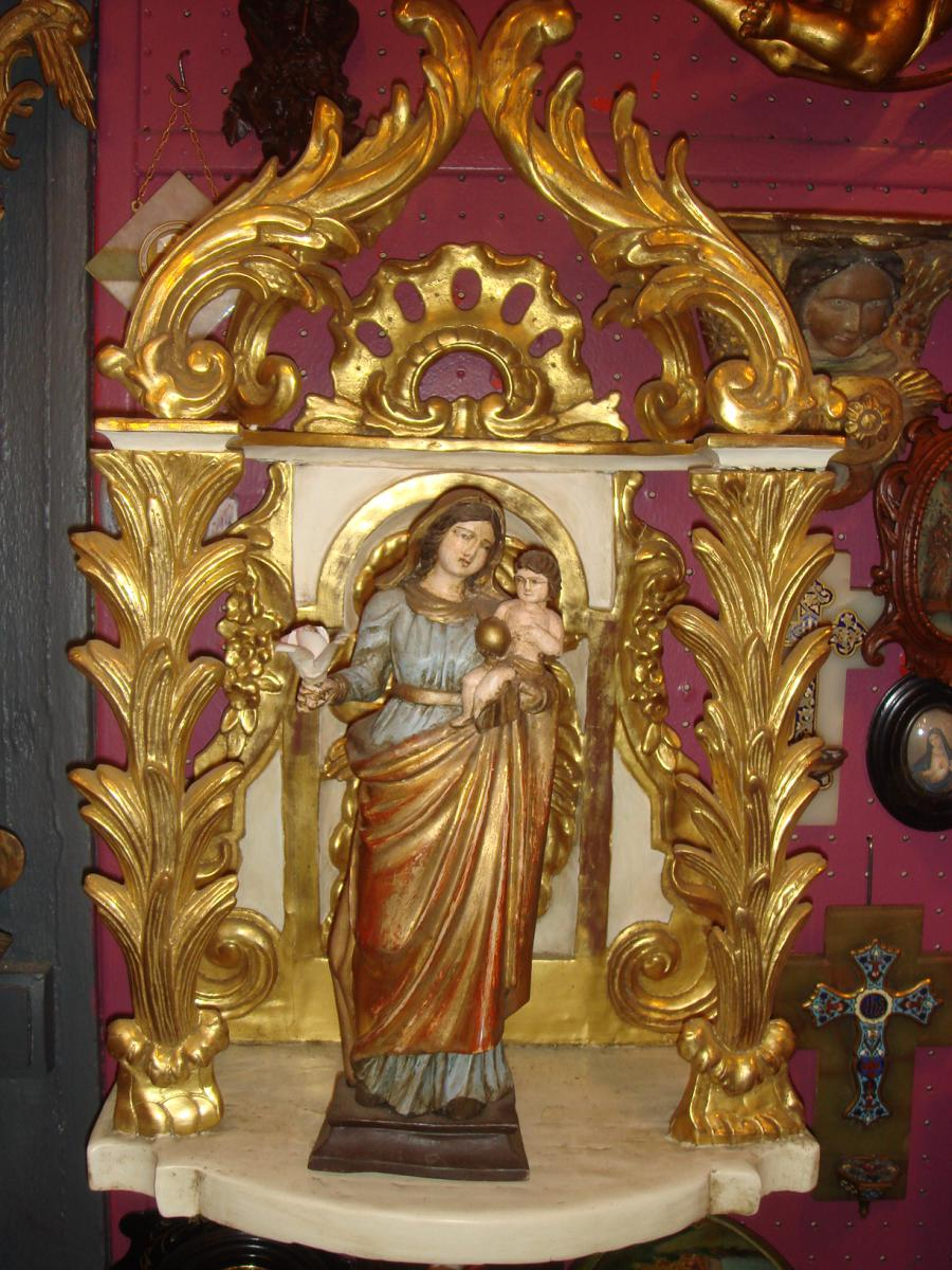 Oratoire Avec Vierge XVIII Bois Dore Louis XV