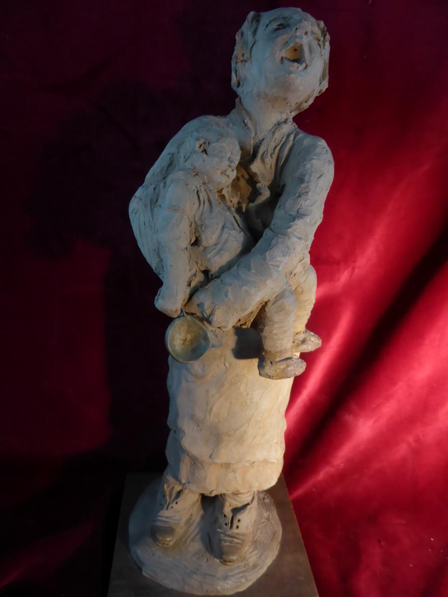 Statuette Terra Cotta Louis Falcke Mendiante