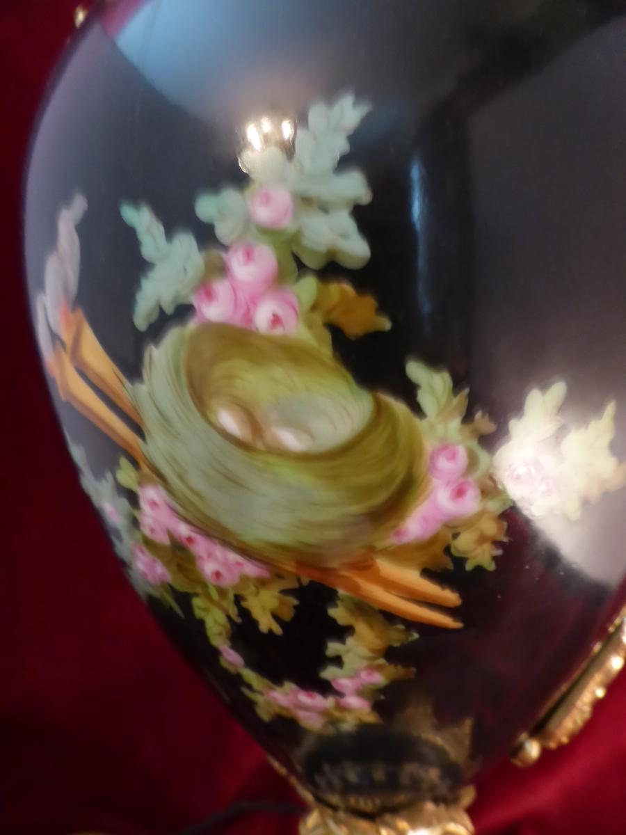 Pied De Lampe Napoleoniii Faience Peinte Et Bronze-photo-2