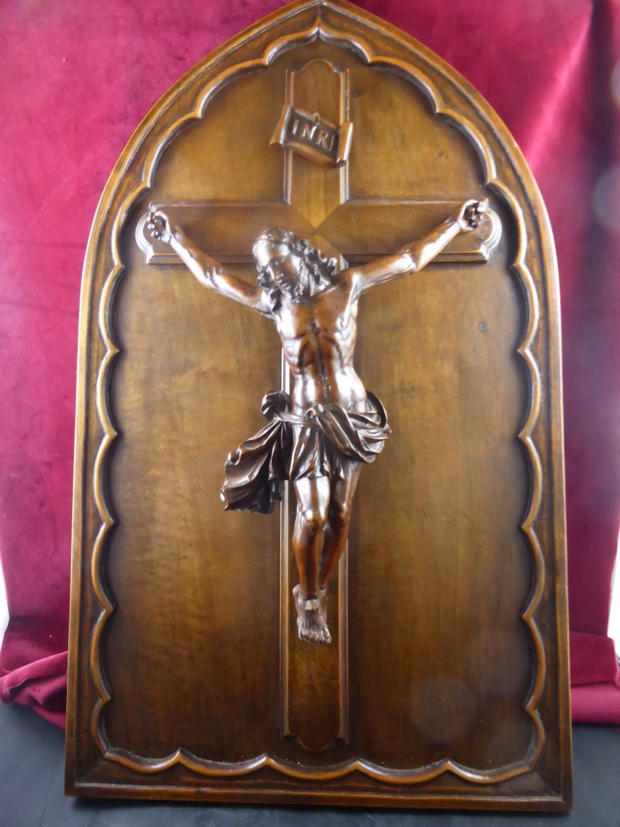 Grand Christ En Buis Sur Cadre