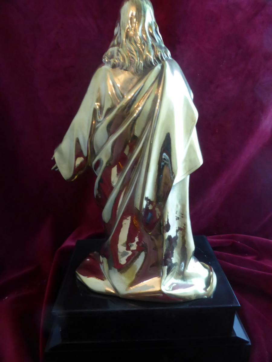 Christ En Bronze Dore  -photo-3