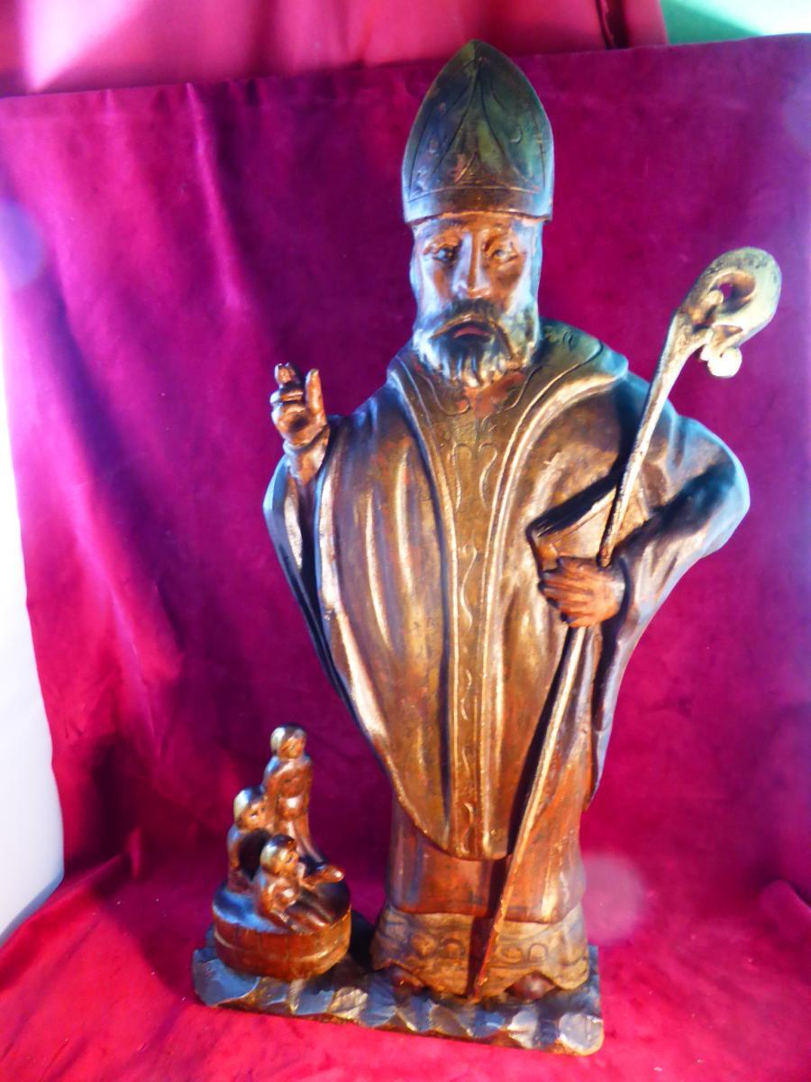 Saint Nicolas Polychrome Wood Statue