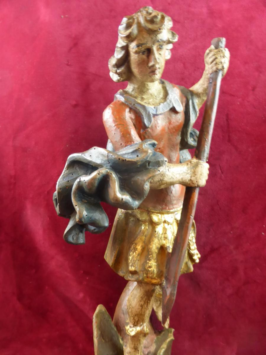 Saint Georges Statue Polychrome 18 Eme Siecle