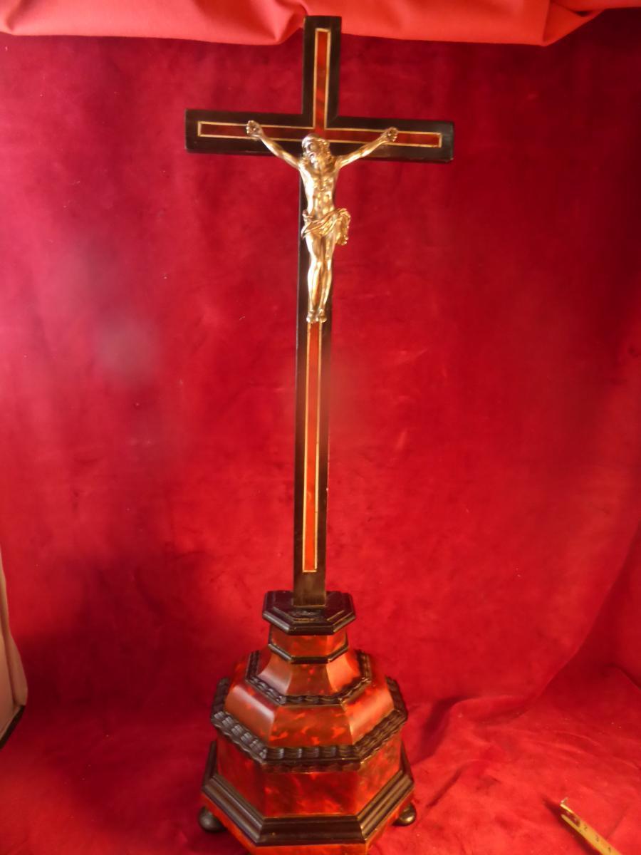 Crucifix Ebene Et Ecaille Christ En Argent Massif
