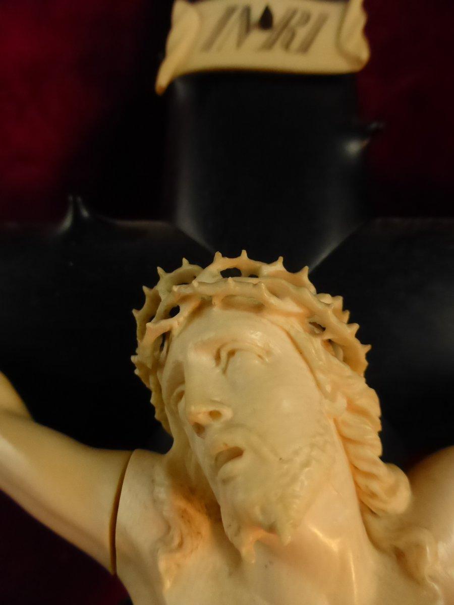 Crucifix En Ebene Christ Ivoire-photo-2