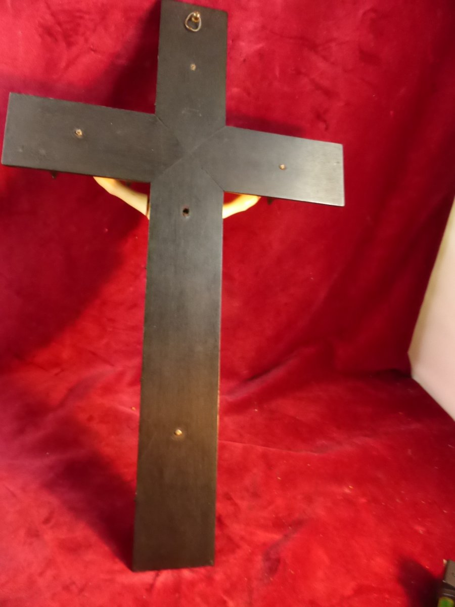 Crucifix En Ebene Christ Ivoire-photo-3