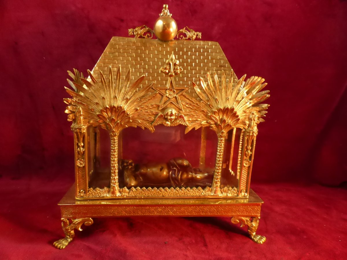 Chasse Reliquaire En Bronze Dore En Forme De Chapelle Jesus Bronze