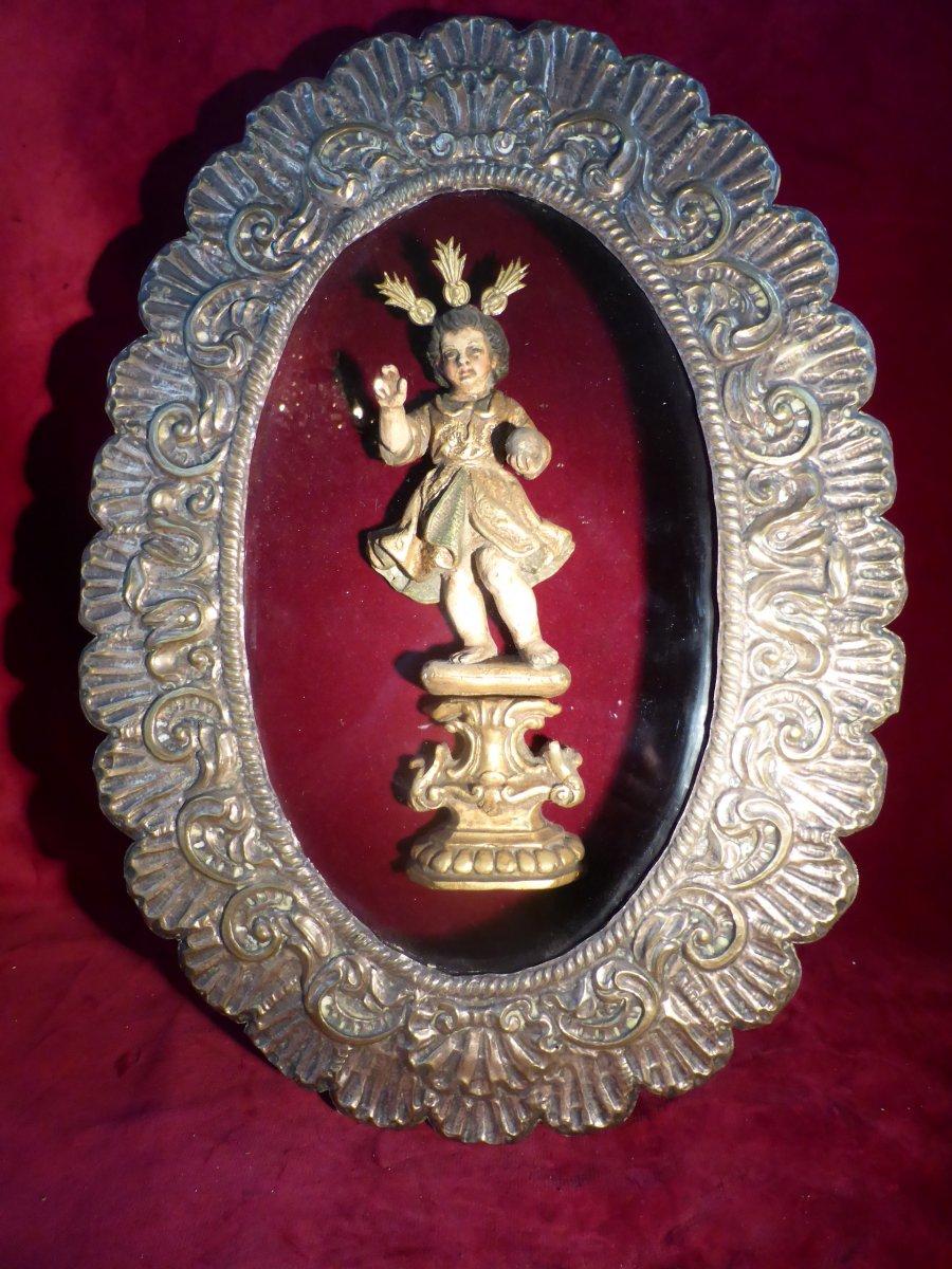 Jesus Child In Baroque Golden Wood In Oval Frame