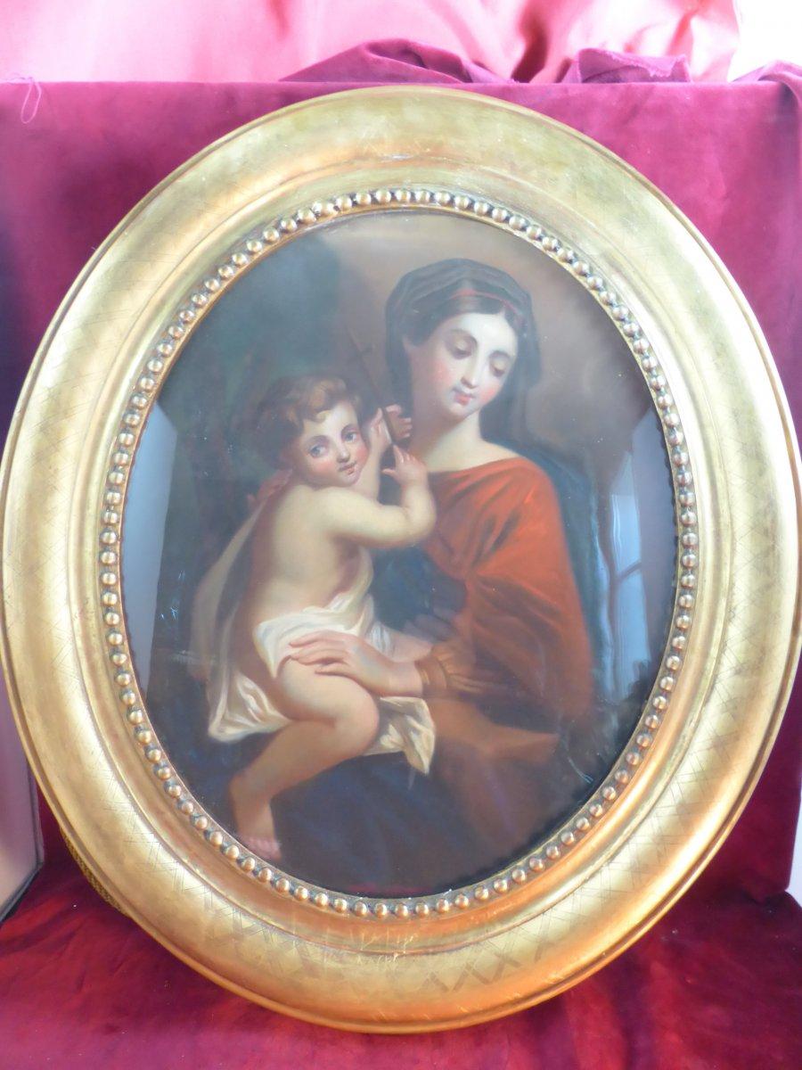 Vierge A L Enfant  Pastel