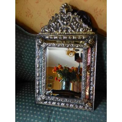Miroir Niii De Style Louisxiv  Laiton Repousse