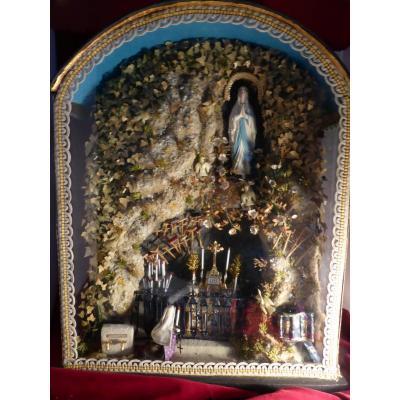 Diorama Grotte Lourdes Bernadette Et Immaculee Conception