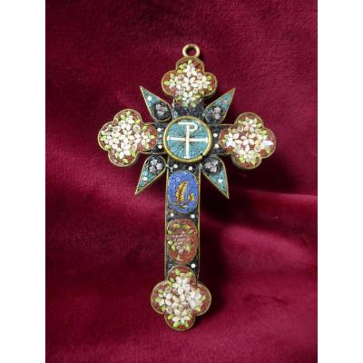 Croix Pectorale En Micro Mosaique