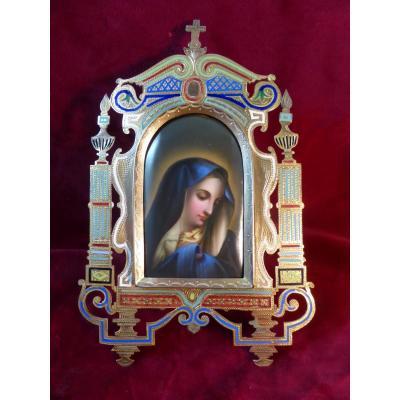 Medaillon Oratoire De Chevet Cloisonne Vierge