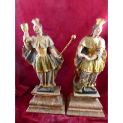 Paire De Statuettes Vierge Et Ste Marguerite