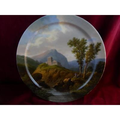 Grand Plat Peint Sur Porcelaine Polycles Langlois